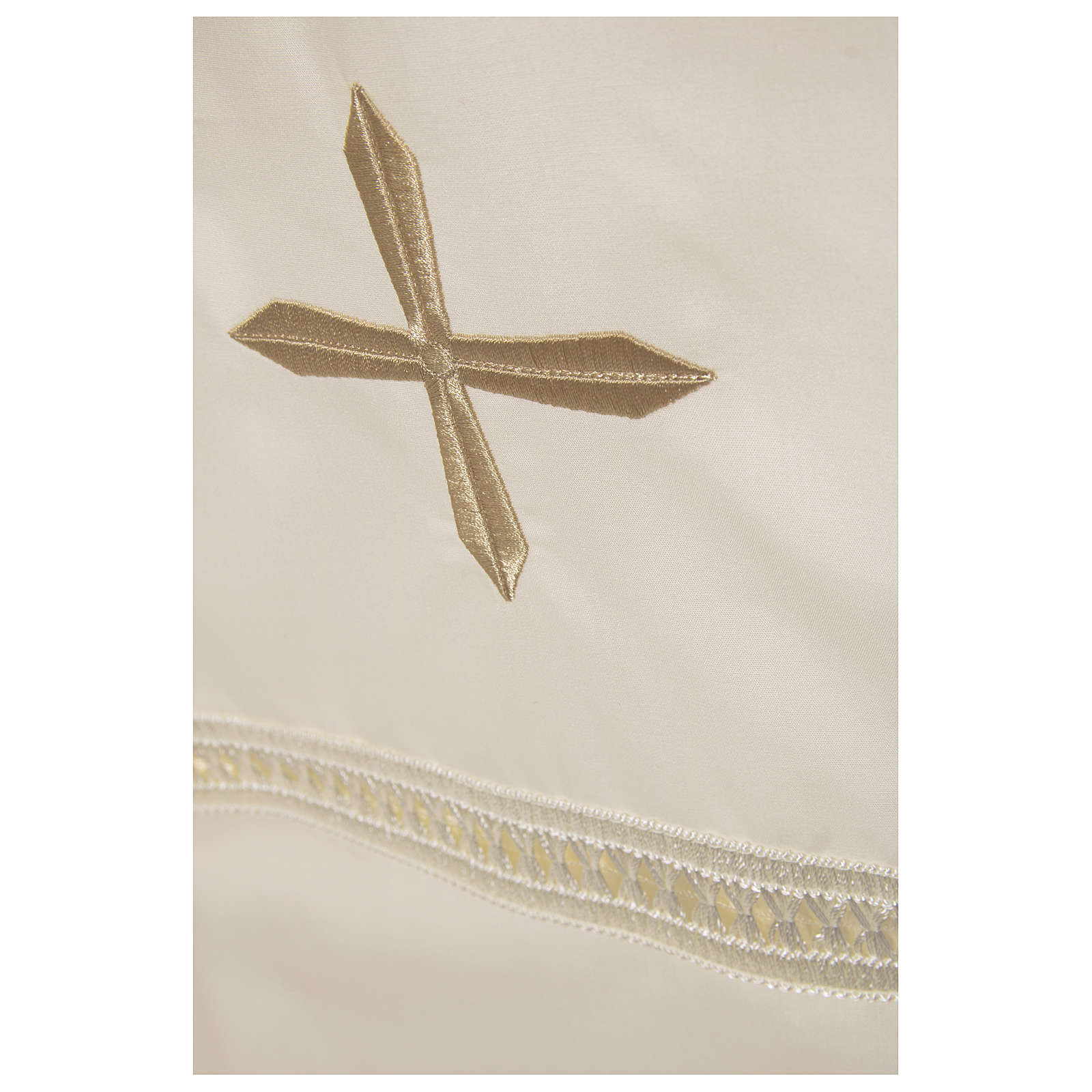 Alb 65% polyester 35% cotton with shoulder zipper and gigliuccio hemstitch, ivory 4
