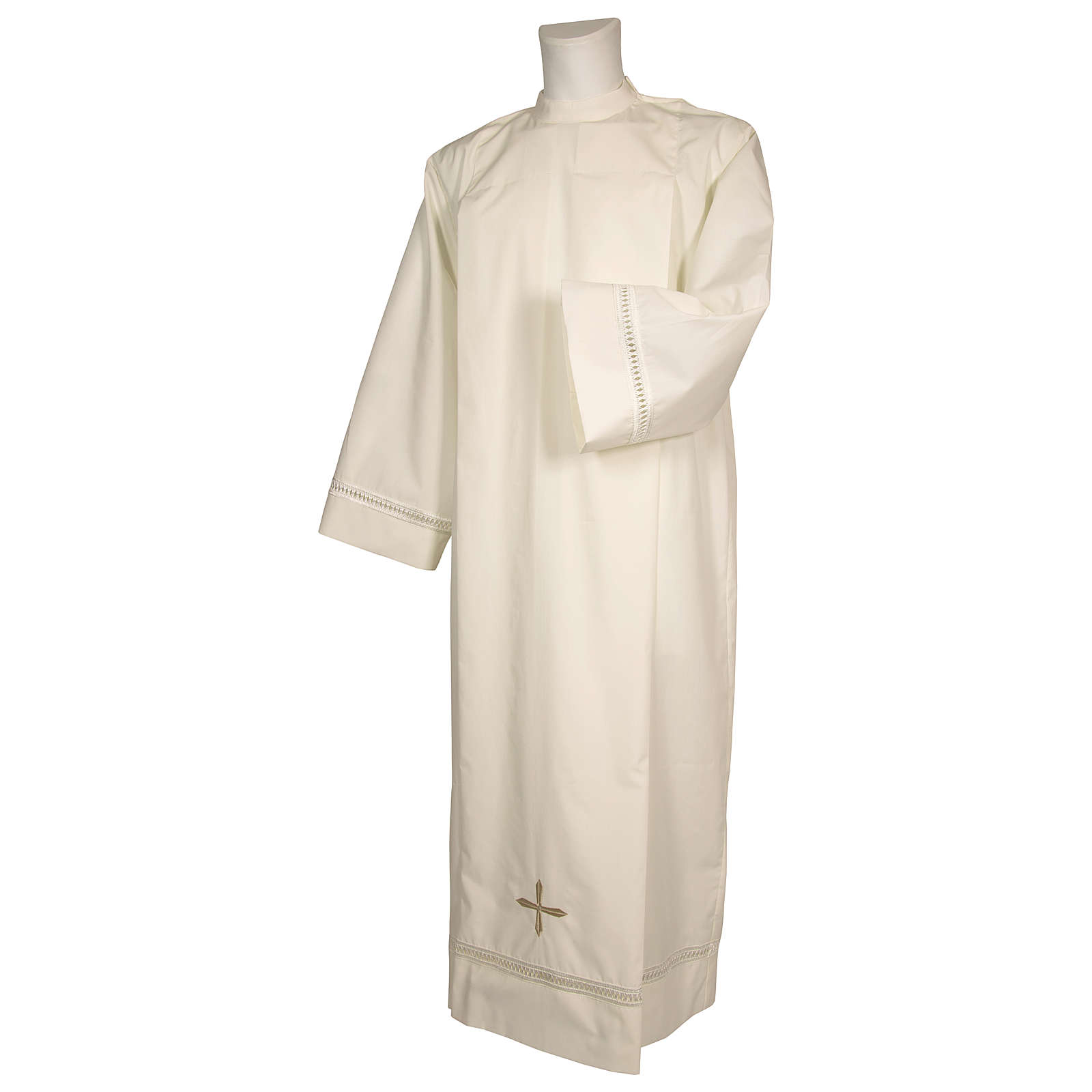 Catholic Alb 65% polyester 35% cotton with shoulder zipper and gigliuccio hemstitch, ivory 4
