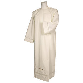 Catholic Alb 65% polyester 35% cotton with shoulder zipper and gigliuccio hemstitch, ivory s1
