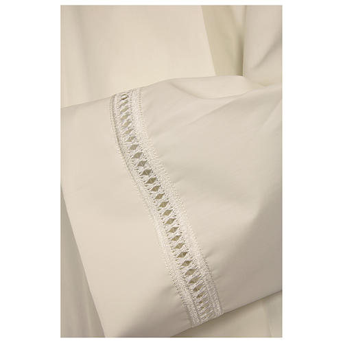 Catholic Alb 65% polyester 35% cotton with shoulder zipper and gigliuccio hemstitch, ivory 2