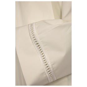 Alb in polyester with shoulder zipper and gigliuccio hemstitch, ivory s2