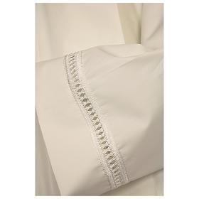 Aube ivoire 100% polyester ourlet à jour et croix fermeture épaule s2