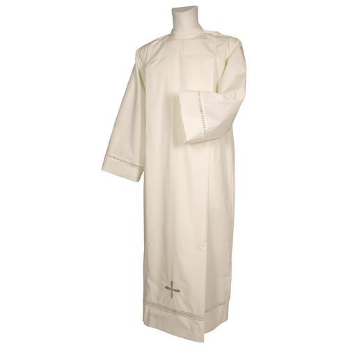 Aube ivoire 100% polyester ourlet à jour et croix fermeture épaule 1