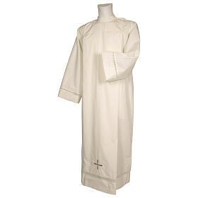 Alva cor de marfim 100% poliéster bainha aberta e cruz fecho de  correr ombro s1