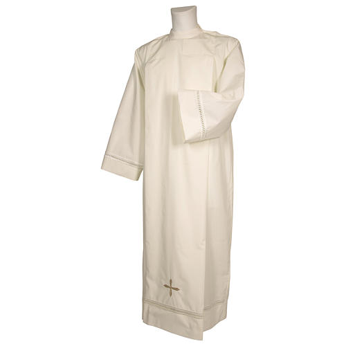 Deacon Alb in Ivory, polyester with shoulder zipper and gigliuccio hemstitch 1