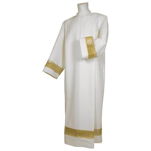 Camice bianco 65% poliestere 35% cotone tramezzo oro cerniera spalla 1