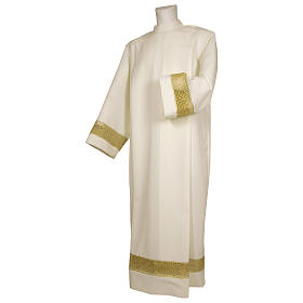 Clergy Alb in polyester with shoulder zipper and golden band, ivory s1