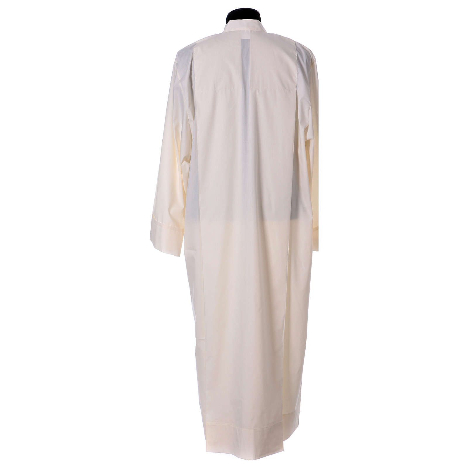 Priest Alb 65% polyester 35% cotton with 2 pleats and zipper on the front, ivory 4