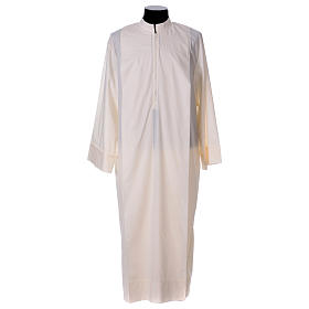 Priest Alb 65% polyester 35% cotton with 2 pleats and zipper on the front, ivory s1
