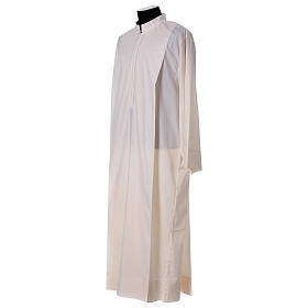 Priest Alb 65% polyester 35% cotton with 2 pleats and zipper on the front, ivory s3