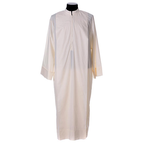 Priest Alb 65% polyester 35% cotton with 2 pleats and zipper on the front, ivory 1