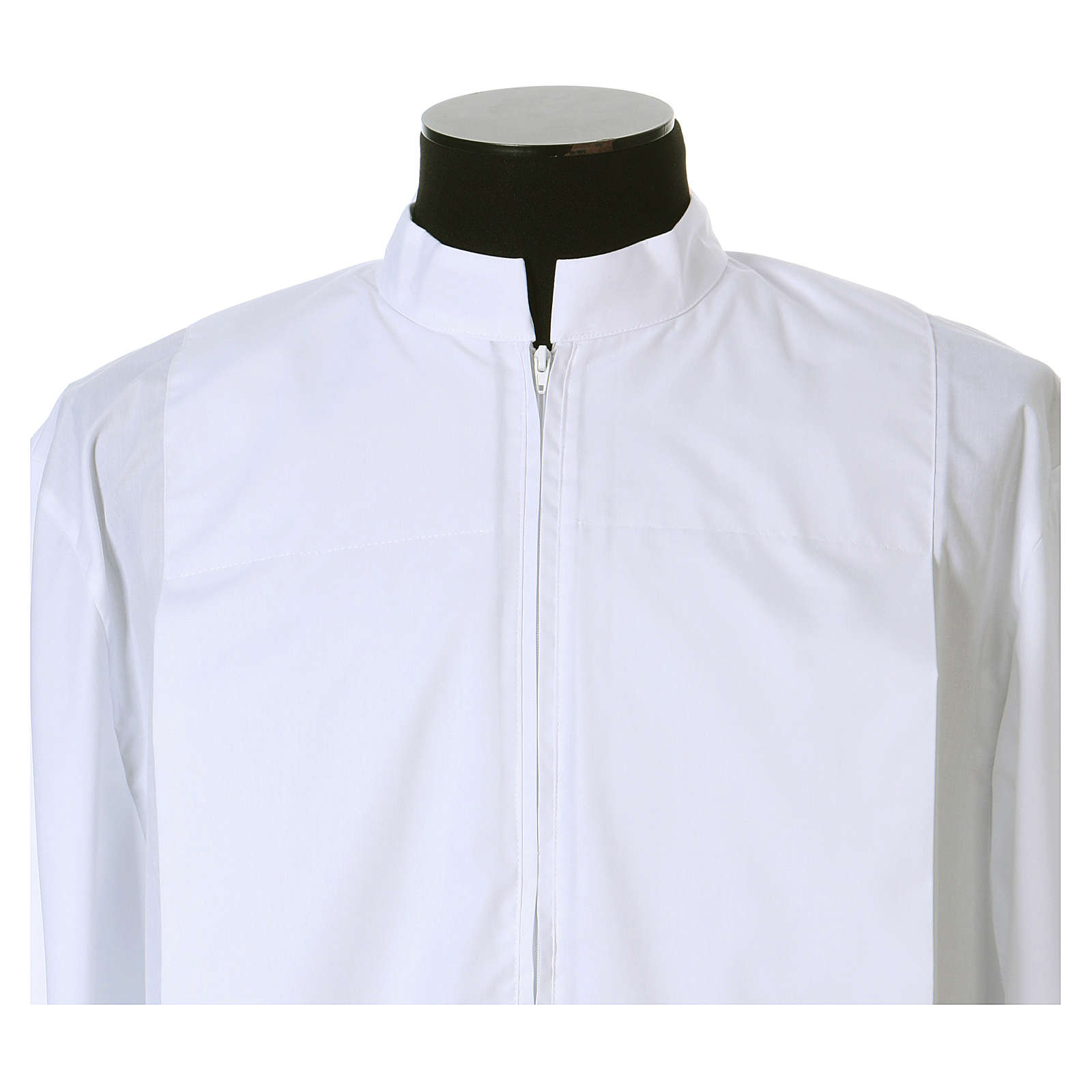 Alb 65% polyester 35% cotton with 2 pleats and zipper on the front, white 4