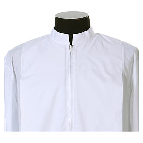 Alb 65% polyester 35% cotton with 2 pleats and zipper on the front, white s2