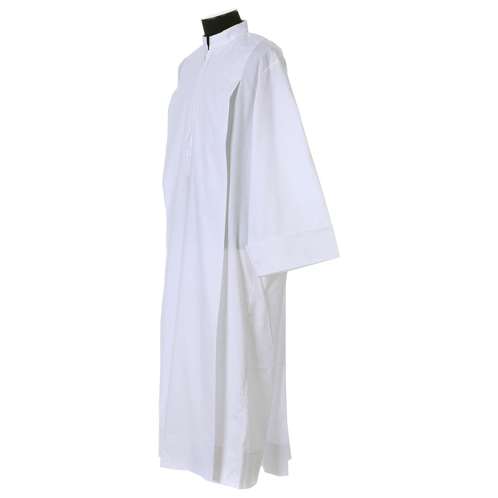 Aube blanche 65% polyester, 35% coton deux plis fermeture devant 4