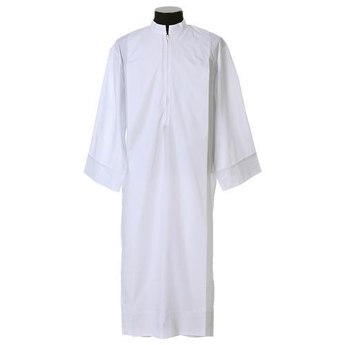 Aube blanche 65% polyester, 35% coton deux plis fermeture devant 1