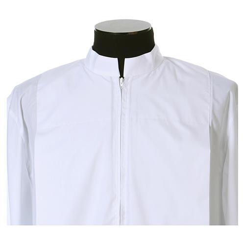 Aube blanche 65% polyester, 35% coton deux plis fermeture devant 2