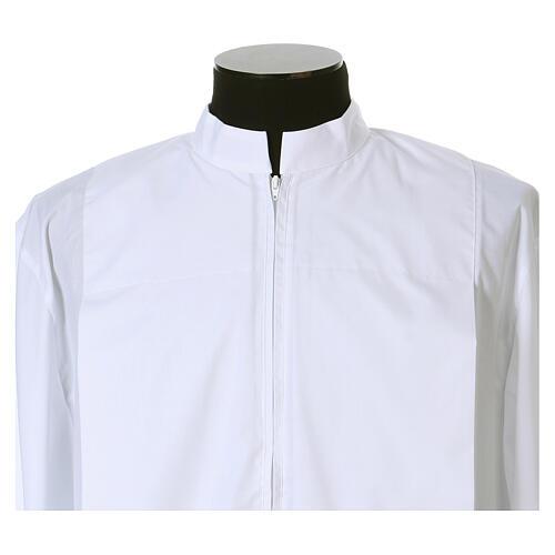 Alva branca 65% poliéster 35% algodão 2 pregas fecho de  correr na frente 2