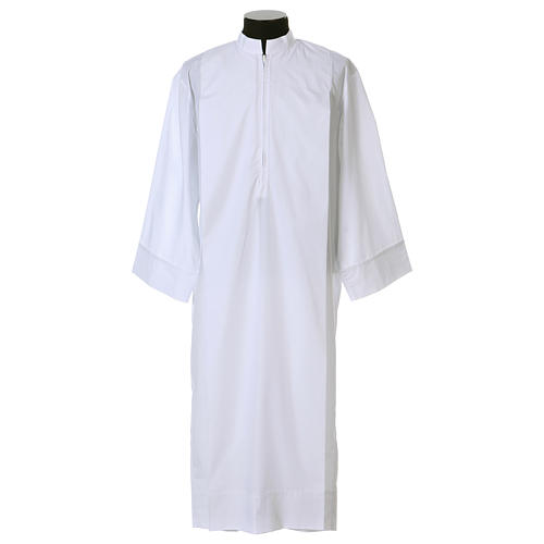 Clerical Alb with 2 pleats and front zipper, 65% polyester 35% cotton 1