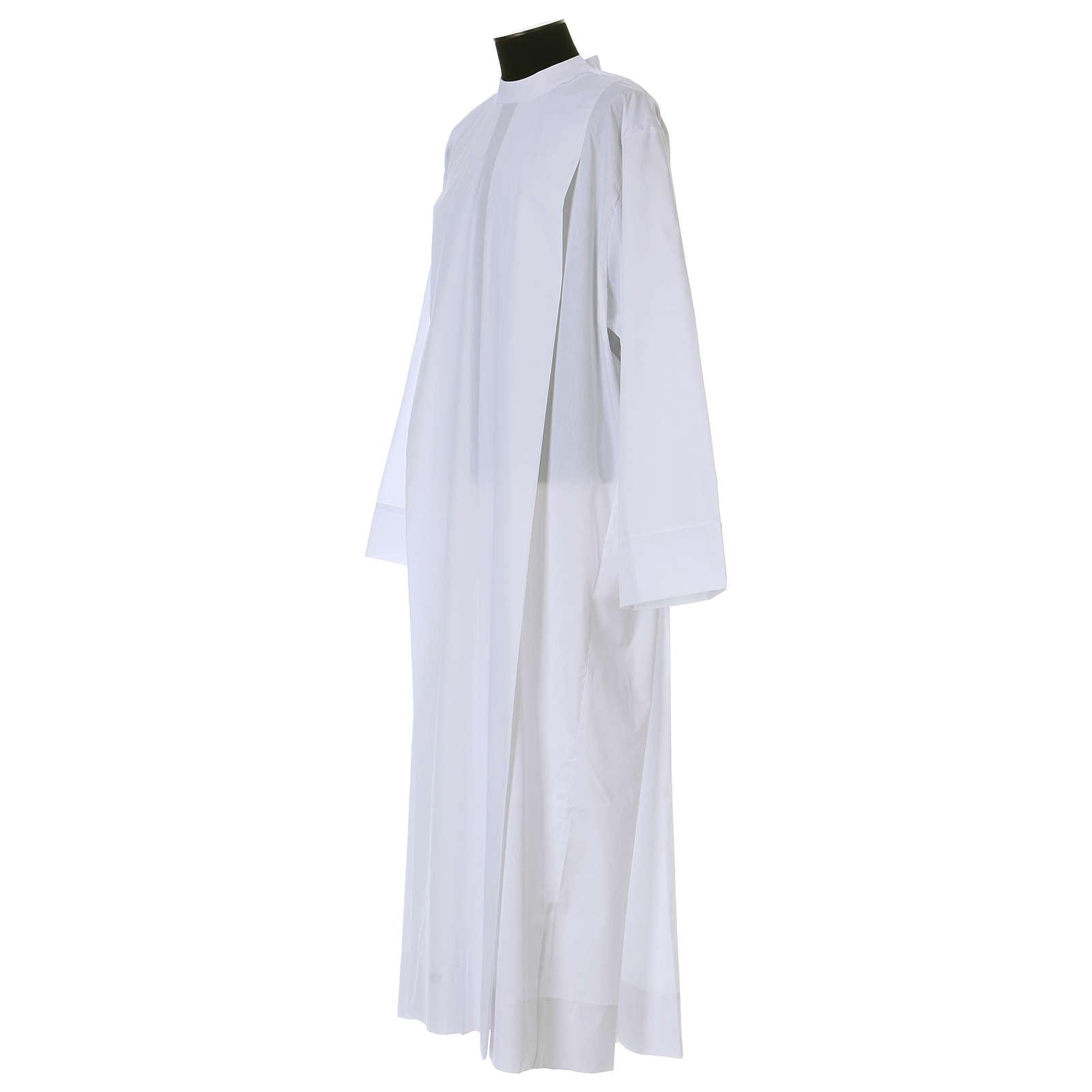 Alba blanca 65% poliéster 35% algodón dos pliegues cremallera hombro 4
