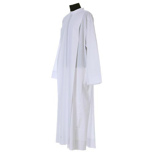 Alba blanca 65% poliéster 35% algodón dos pliegues cremallera hombro 2