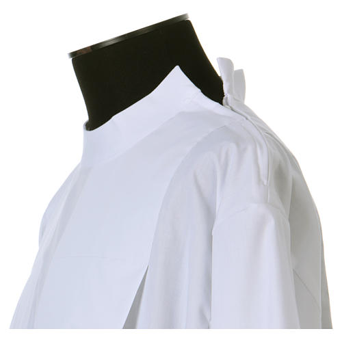 Alba blanca 65% poliéster 35% algodón dos pliegues cremallera hombro 3