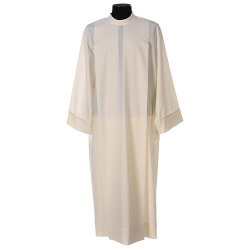 Alb 55% polyester 45% wool with 2 pleats and shoulder zipper, ivory 1
