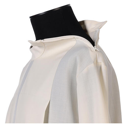 Alb 55% polyester 45% wool with 2 pleats and shoulder zipper, ivory 3