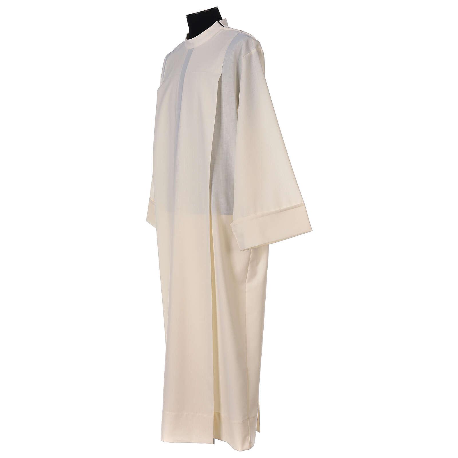 Alva cor de marfim 55% poliéster 45% lã 2 pregas fecho de correr ombro 4
