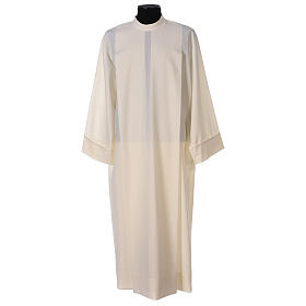 Liturgical Alb 55% polyester 45% wool with shoulder zipper, ivory color s1