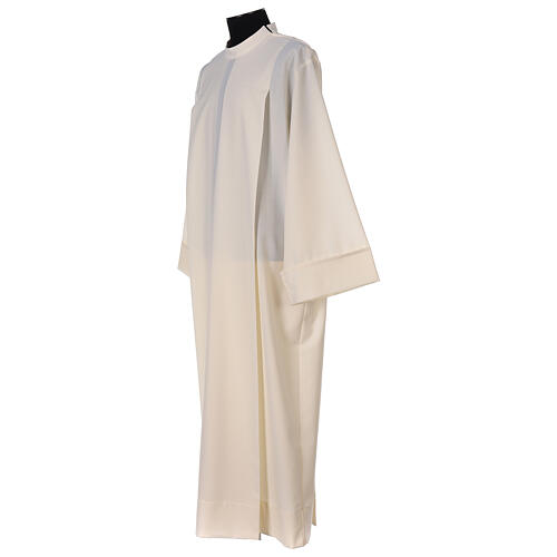 Liturgical Alb 55% polyester 45% wool with shoulder zipper, ivory color 2