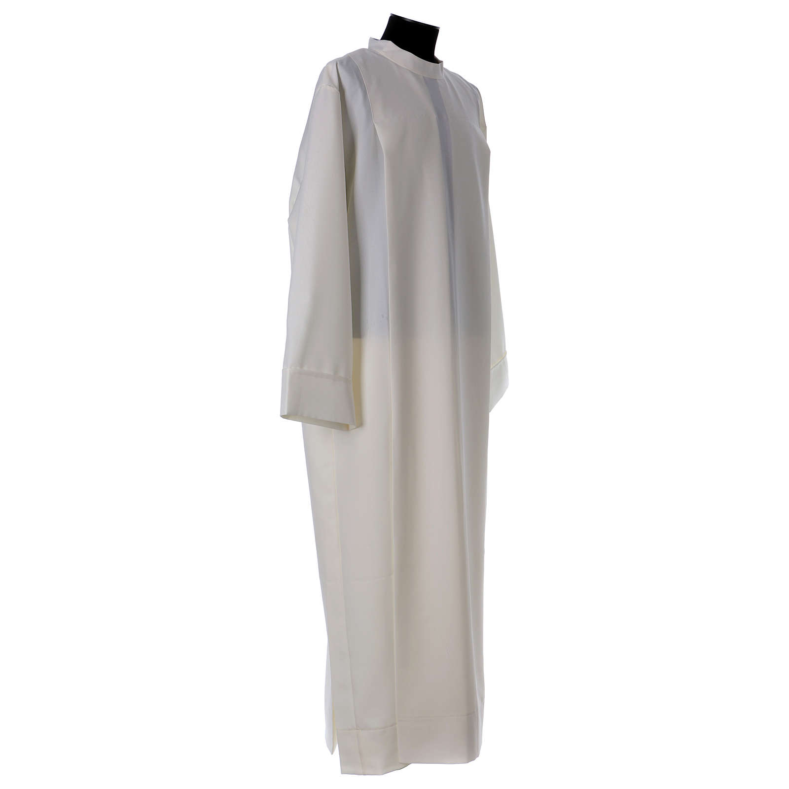 Alb in polyester with 2 pleats and shoulder zipper, ivory 4