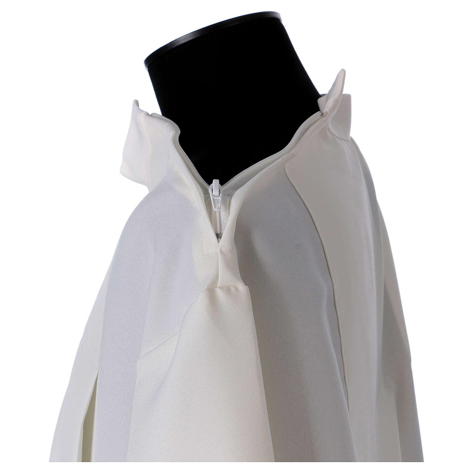 Alba marfil 100% poliéster dos pliegues cuello cremallera hombro 4