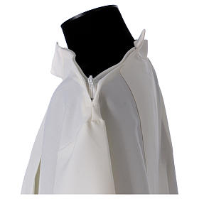 Clergy Alb in polyester with 2 pleats in ivory and shoulder zipper, s5