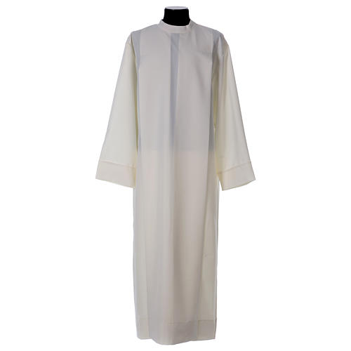 Clergy Alb in polyester with 2 pleats in ivory and shoulder zipper, 1