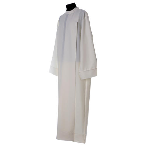 Clergy Alb in polyester with 2 pleats in ivory and shoulder zipper, 2