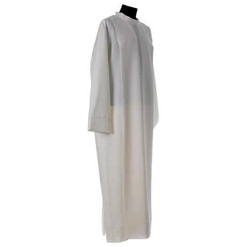 Clergy Alb in polyester with 2 pleats in ivory and shoulder zipper, 3