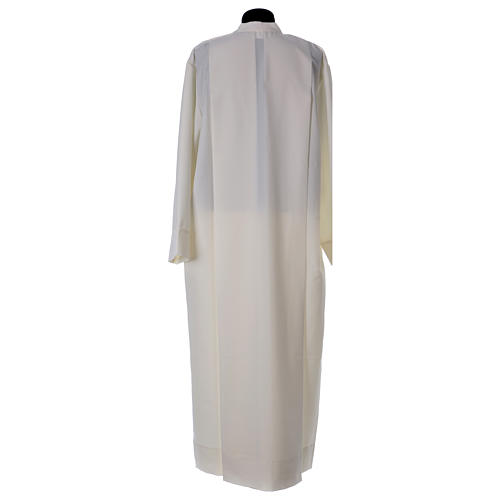 Clergy Alb in polyester with 2 pleats in ivory and shoulder zipper, 4