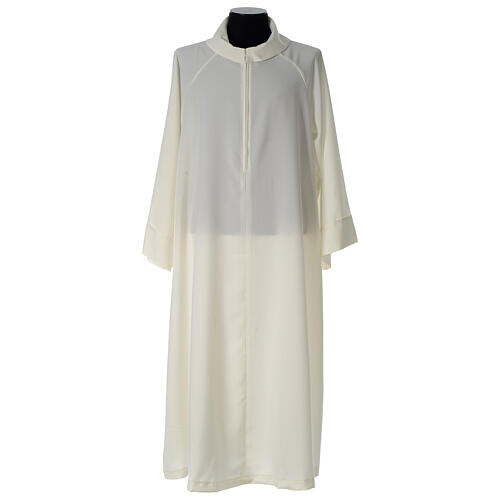 Alb in polyester, flared with fake hood, ivory 1