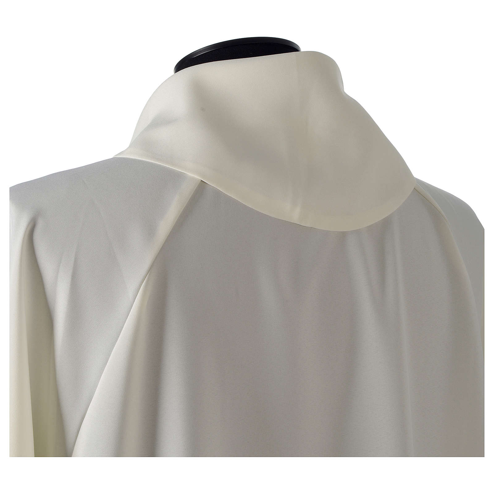 Monastic Alb in ivory in polyester, flared with fake hood 4