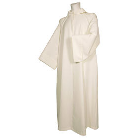 Monastic Alb in ivory in polyester, flared with fake hood s1