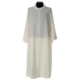 Monastic Alb in ivory in polyester, flared with fake hood s3