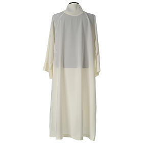 Monastic Alb in ivory in polyester, flared with fake hood s4