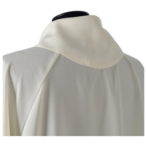 Monastic Alb in ivory in polyester, flared with fake hood 3