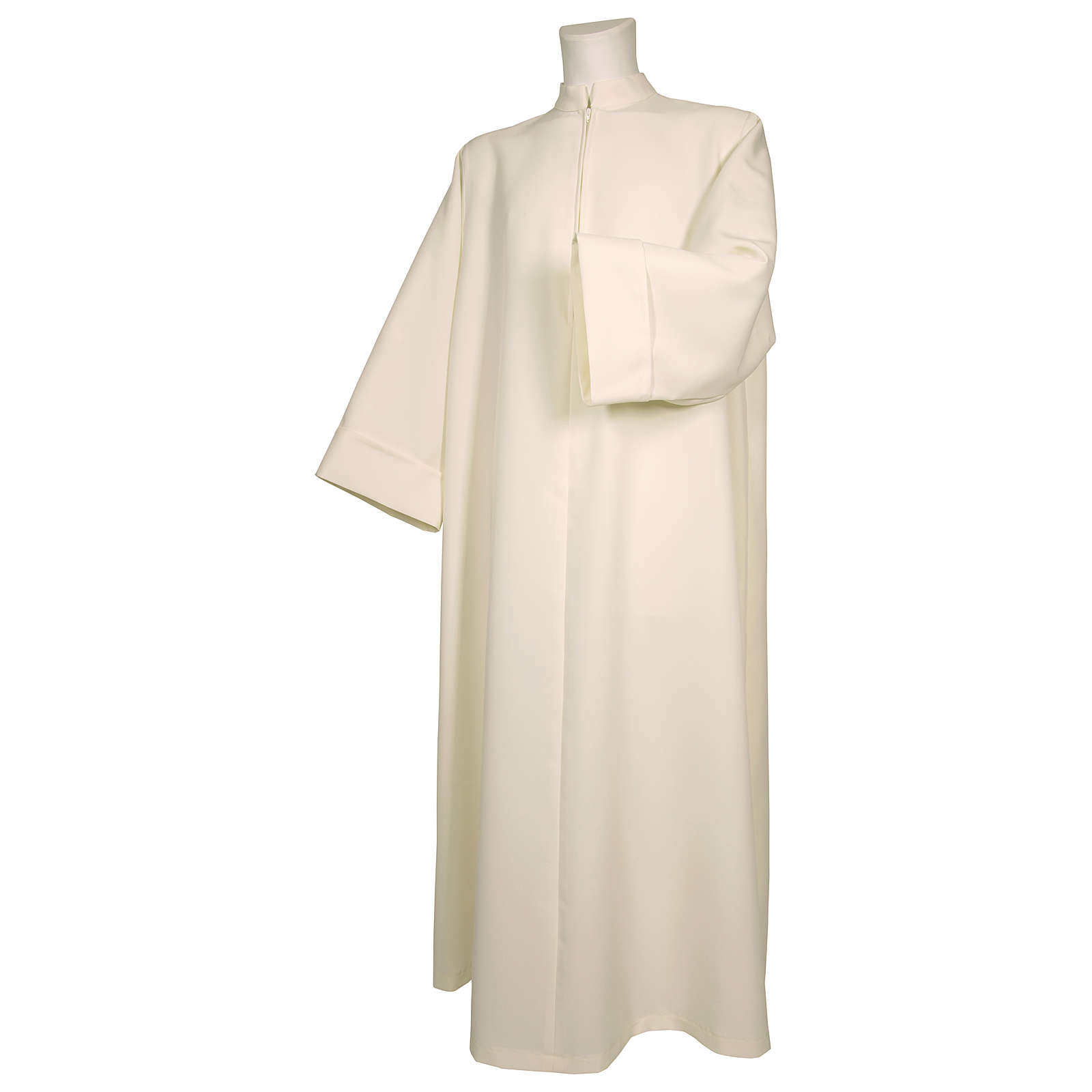 Alb in polyester, flared with zipper on the front, ivory 4