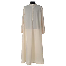 Alb in polyester, flared with zipper on the front, ivory s4