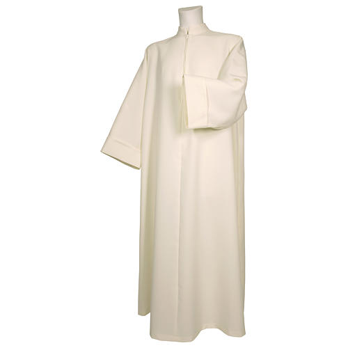 Alb in polyester, flared with zipper on the front, ivory 1