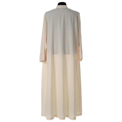 Alb in polyester, flared with zipper on the front, ivory 5