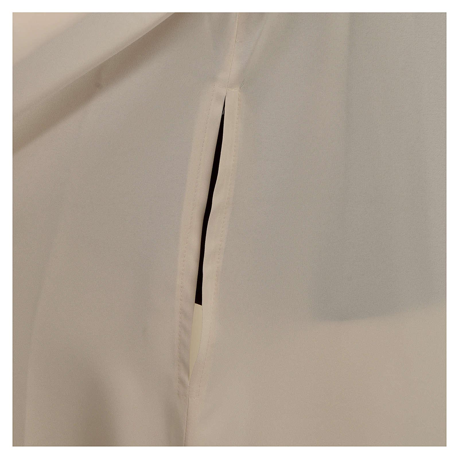 Alba kość słoniowa mikrofibra poliester rozszerzana stójka zamek z przodu 4
