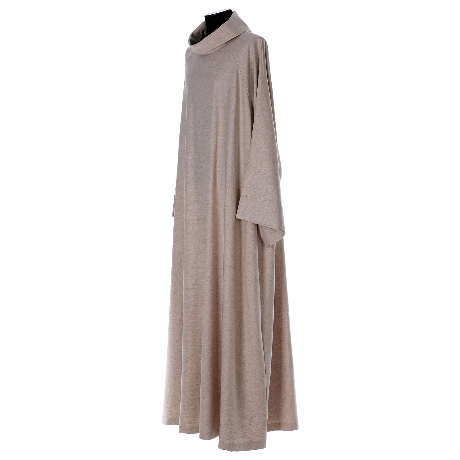Catholic Alb in viscose with collar, flared cowl model 4