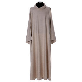 Catholic Alb in viscose with collar, flared cowl model s1